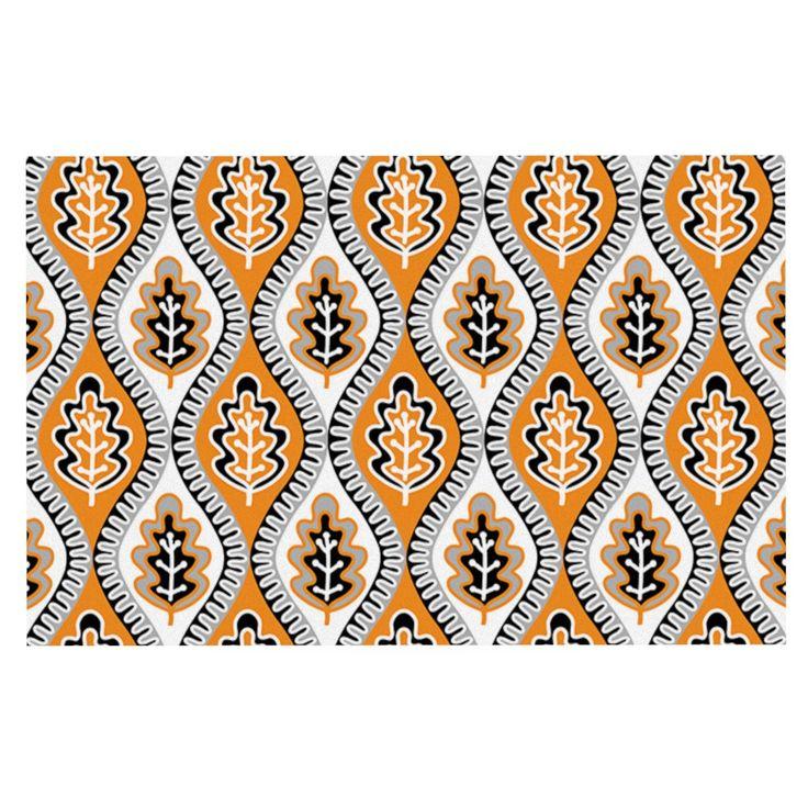 "Jacqueline Milton ""Oak Leaf - Orange"" Floral Orange Decorative Door Mat"