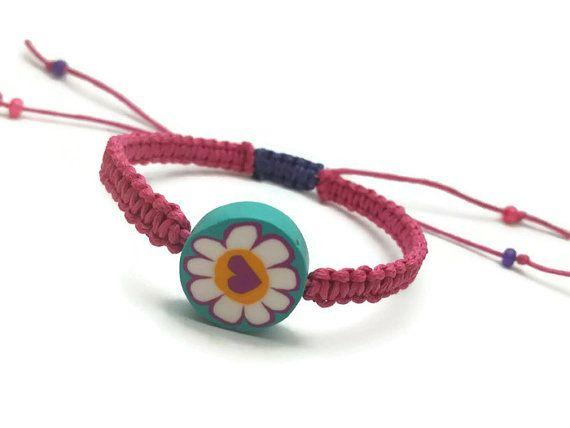Pink Purple Hemp Bracelet! Cute Heart Flower bead with it!
