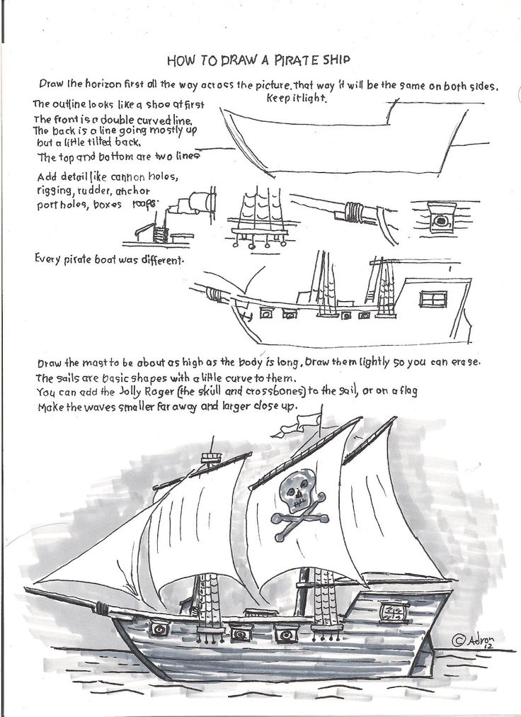 Pirate Ship Parts How To Draw Worksheets For The Young