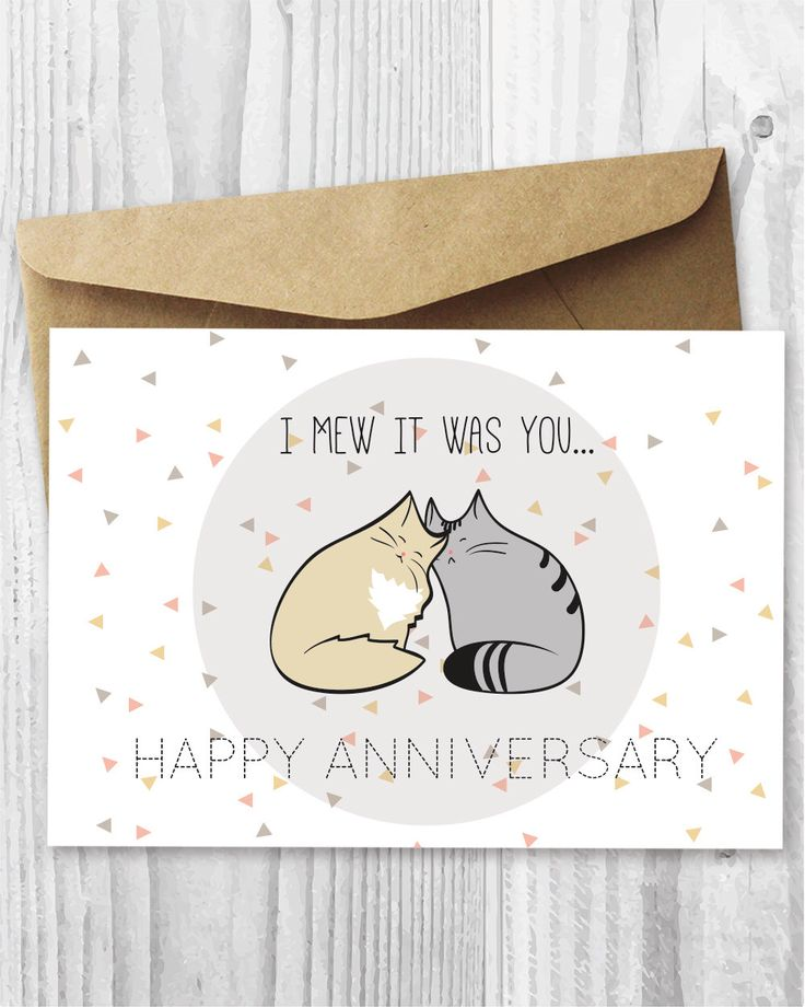 Anniversary Card, Printable Anniversary Card, Romantic Anniversary Cat Card  DIY, Anniversary Cats Digital  Anniversary Cards Printable