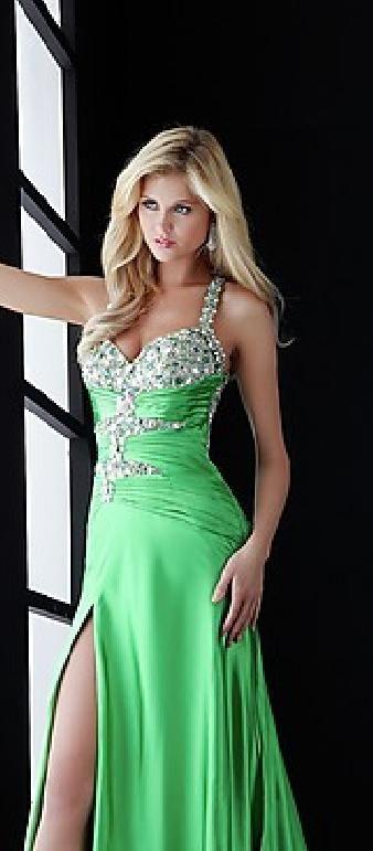 Elegant Halter A-Line Green Floor Sleeveless Evening Dresses In Stock klkdresses16525vty #longdress #promdress