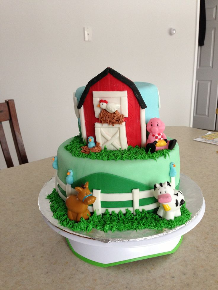 Cake Decoration Farm Theme : Farm themed baby shower cake My cakes Pinterest