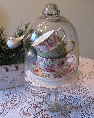 cup of tea vignette #cloche #rose #tea #vignette