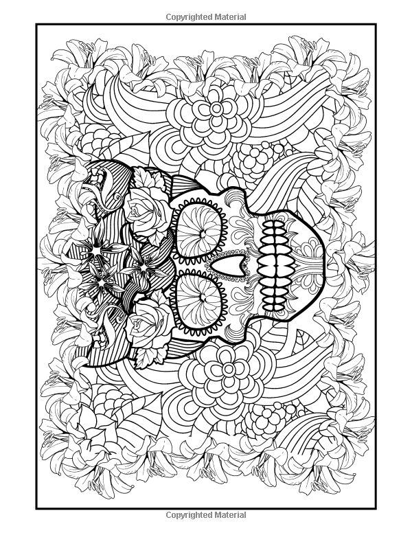 Coloring Books For Grown Ups Dia De Los Muertos Sugar Skulls Pages
