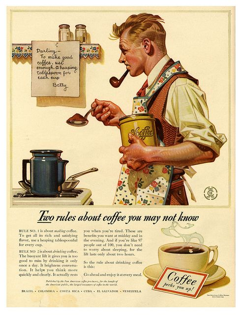 Poor Bill is so befuddled about how to make coffee. He dang near almost put his pipe down long enough to tie on his apron.
