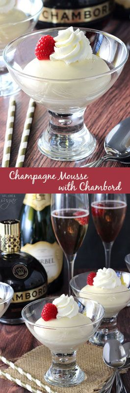 Champagne Mousse with Chambord - a light, easy dessert for New Year's Eve!