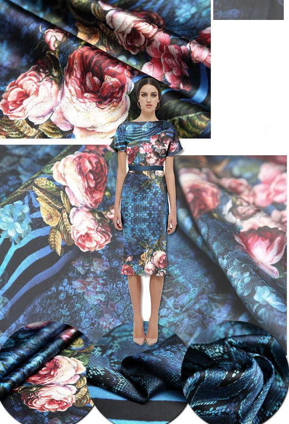 Gorgeous silk fabric. Digital print rose: 55.00