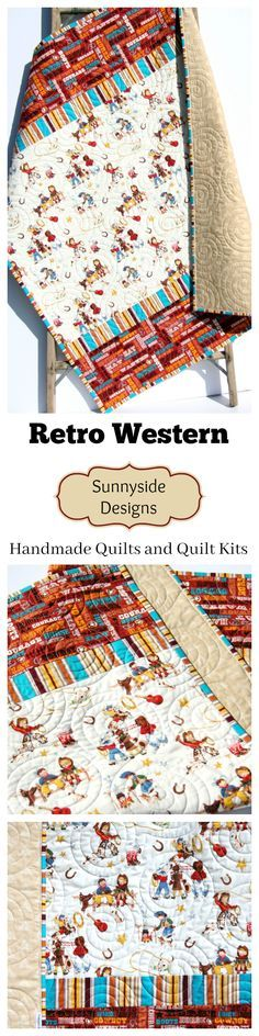 Retro Western Baby Quilt, Handmade in the USA, Baby Quilt Kit, Simple Easy Baby Quilt Kit, Striped Quilt Kit, Vintage Looking Western Baby Bedding, Nursery Bedding, Crib Blanket, Cowboy Cowgirl Baby Quilt by Sunnyside Designs