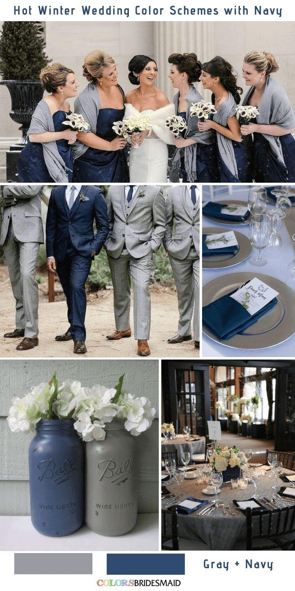 9 magnifiques palettes de couleurs de mariage en hiver bleu marine – DIY and crafts