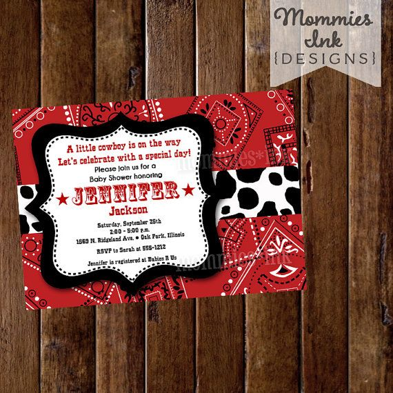 Cow Print baby shower invite