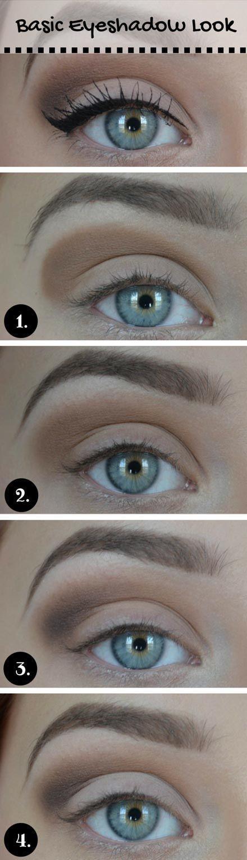 Basic Eyeshadow Look for Blue Eyes - Eye Makeup Tutorial - School Appropriate