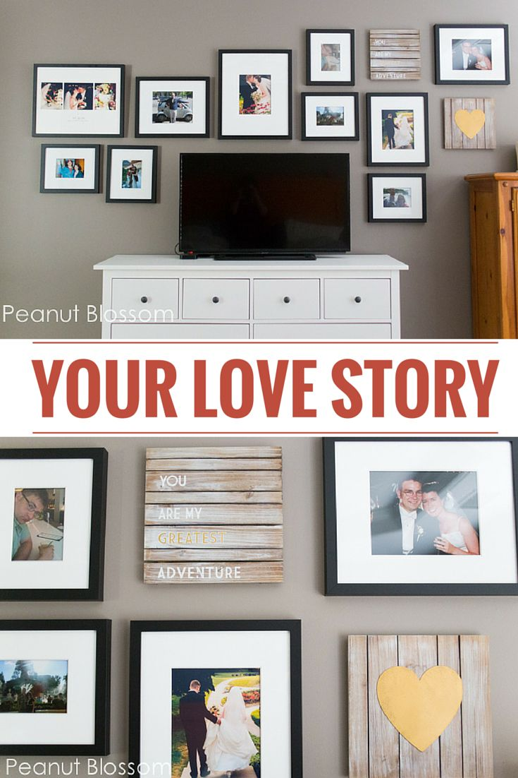 Display the story of your relationship in a personal wall gallery! This romantic arrangement is perfect for a master bedroom. Tips for keeping your space an oasis for you and your sweetie!
