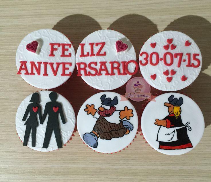 Cupcakes para aniversario. Cupcakes de Olafo y Helga. Cupcakes con letras y corazones cupcakes para novios. Cupcakes de amor
