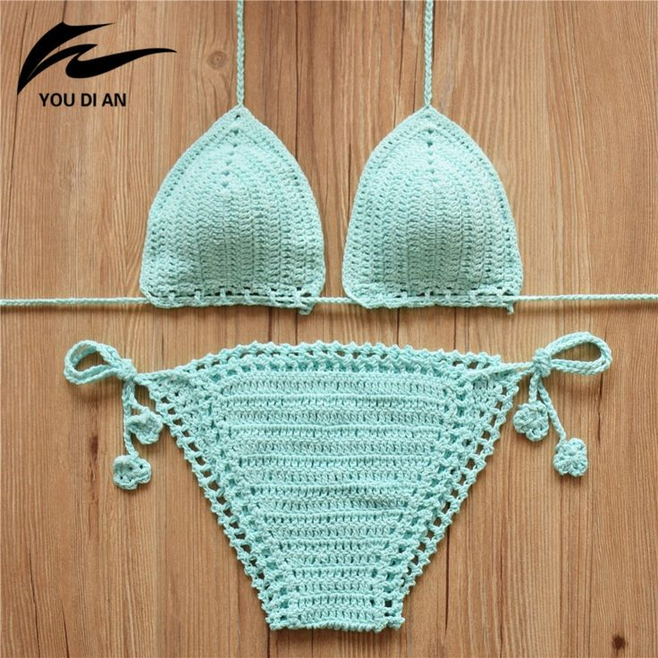 2016ニット水着セクシーなビキニセット水着女性水着手作りかぎ針編みbikinis女性水着ブラジルビキニ