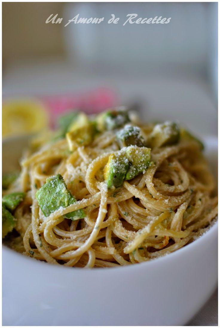 Spaghettis à l'avocat, au yaourt et au citron