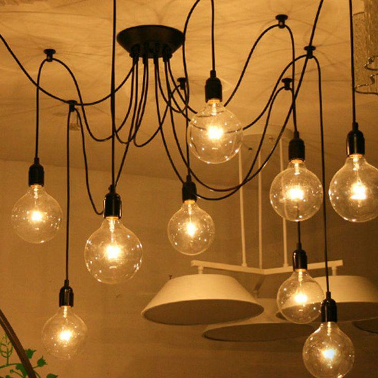 6/8/10 Heads Vintage Industrial Pendant Ceiling Edison Lamp Light Chandelier #Unbranded #VintageRetro