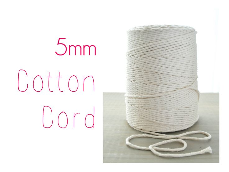 Macrame Cord // Cotton Twine // 5mm Natural Cotton Rope // Cotton String by VintageLoopSupplies on Etsy