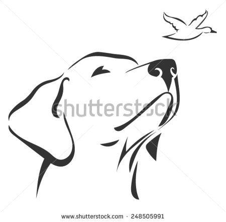 Labrador head 3 - stock vector