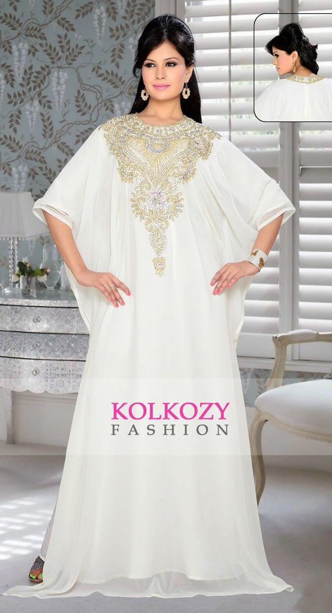 39cbcd9be3 Womens Kaftan Off White color Saudi Arabic style | Islamic Clothing | Kaftan,  Dresses, Off white color