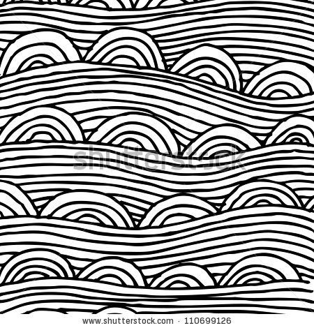 abstract seamless pattern with stripes and half-circles, seamless abstract hand-drawn pattern, waves background by Zelena, via ShutterStock...