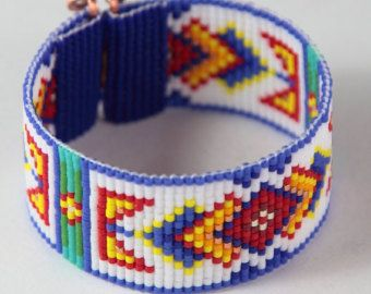 Ruidoso Bead Loom Cuff Bracelet Native American Style Beaded Jewelry Boho Tribal Beadweaving Southwestern Black Copper
