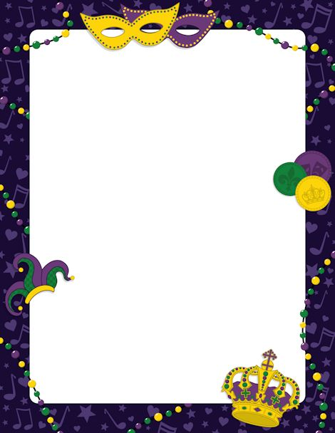 Printable Mardi Gras border. Free GIF, JPG, PDF, and PNG downloads at http://pageborders.org/download/mardi-gras-border/. EPS and AI versions are also available.