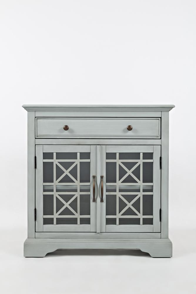 Wooden And Beveled Glass 32 Accent Cabinet Early Gray Bm184060