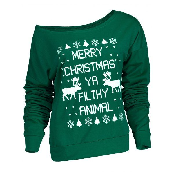 Stylish Letter and Snowflake Print Pullover Christmas Sweatshirt For Women - Green Xl Mobile