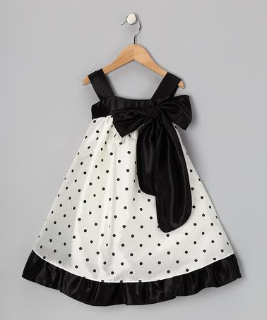 Black Polka Dot Bow Dress - Toddler & Girls by Kid's Dream