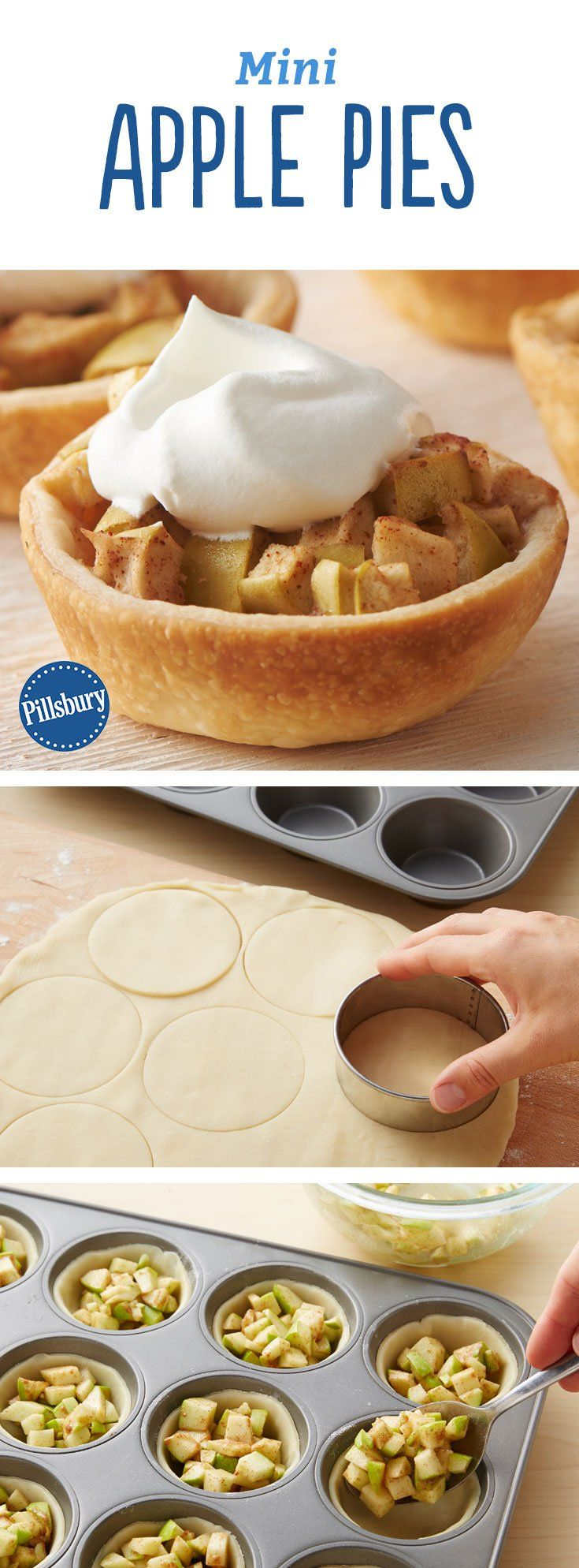 These adorable miniature apple pies are perfect for lunchboxes, dessert trays and surprise treats. Best of all, they can be made ahead! Expert tip: Have extra pie crust? There will probably be a little leftover. Roll it out and use mini pie cutters to cut pieces. Then place them on top of the mini pies before baking.