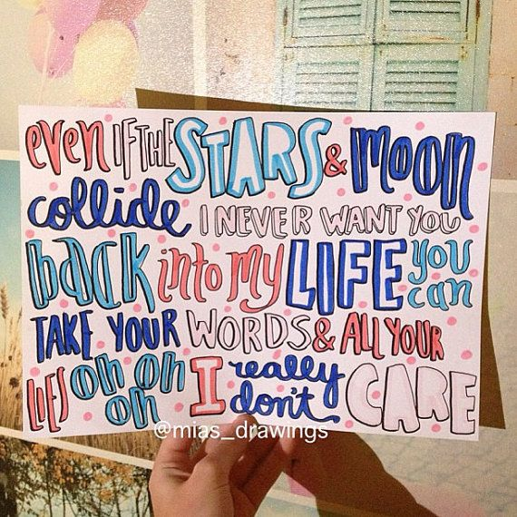 Really Don't Care Demi Lovato ft. Cher Lloyd lyric by Miasdrawings, $6.00