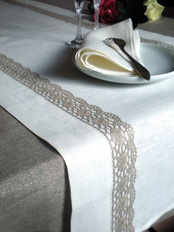 Spring Linen Table Runner White With Tracery by LinenLifeIdeas