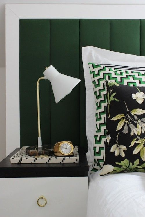 Green + White color combination in a bedroom. Love the patterns, too!