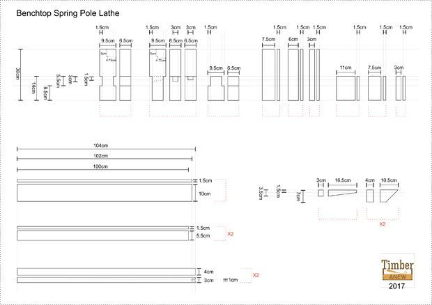 Portable Benchtop Spring Pole Lathe
