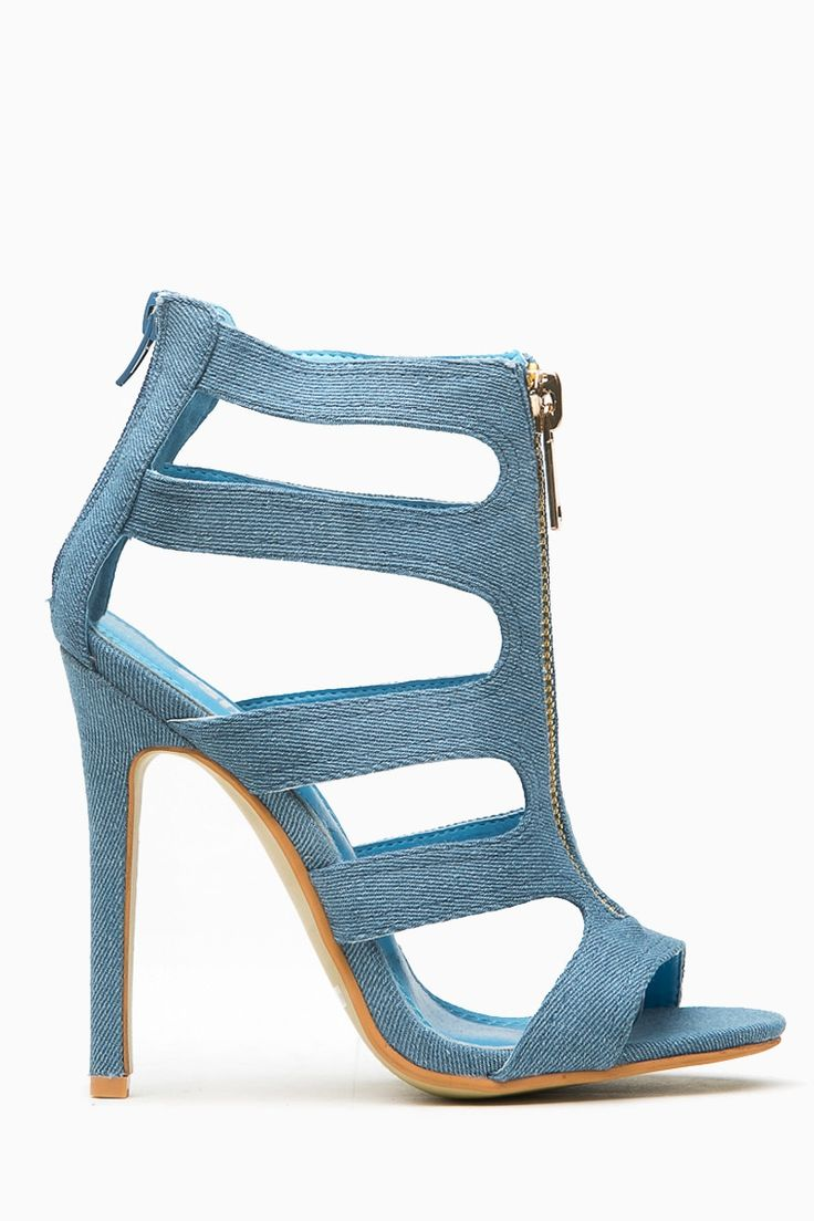 Denim Cut Out Zipper Accent Single Sole Heels @ Cicihot Heel Shoes online store sales:Stiletto Heel Shoes,High Heel Pumps,Womens High Heel Shoes,Prom Shoes,Summer Shoes,Spring Shoes,Spool Heel,Womens Dress Shoes