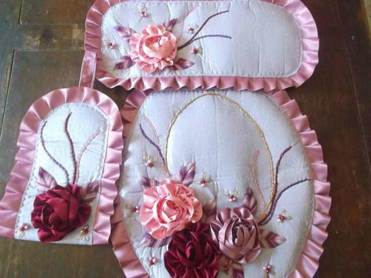 Set De Baño Drapeado:Bano De Flores