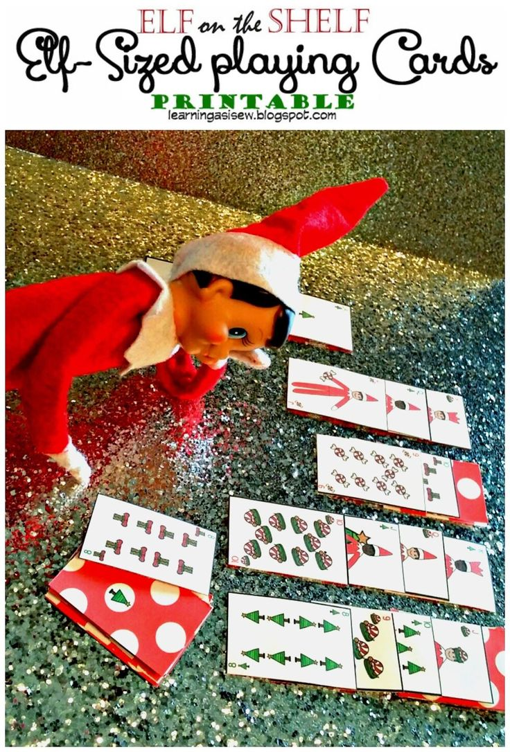 Elf-sized playing cards printables #elfontheshelf Elf on the Shelf