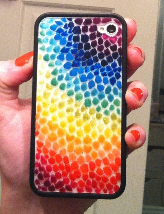 Diy iphone case painted with nail polish by abigail owens for Cell phone cover design ideas