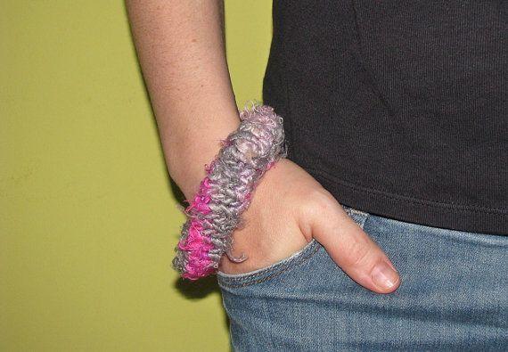 silver-pink knitted recycled sari silk bracelet by mibolkossek