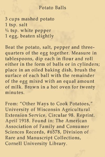 Potato Balls  Recipe 1918