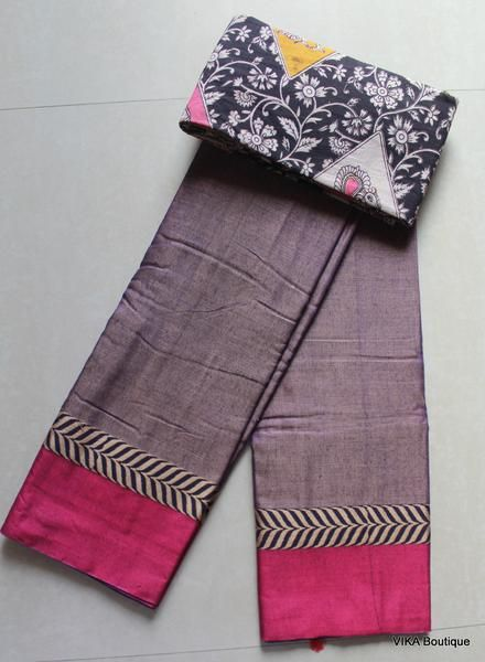 Soft cotton saree with kalamkari blouse