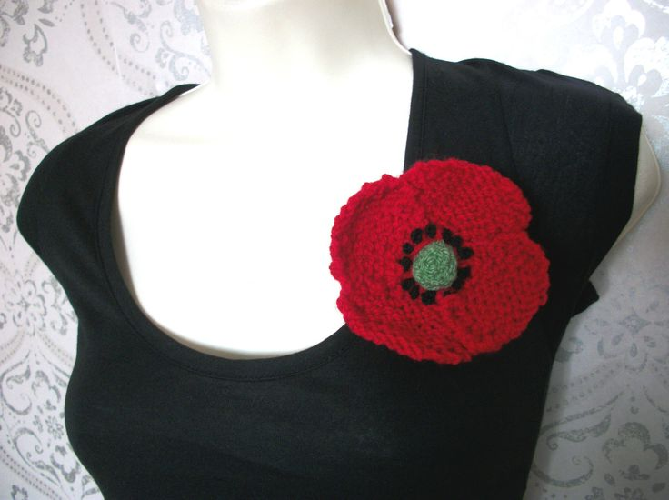 Large Poppy Brooch- Hand Knitted, £7.99