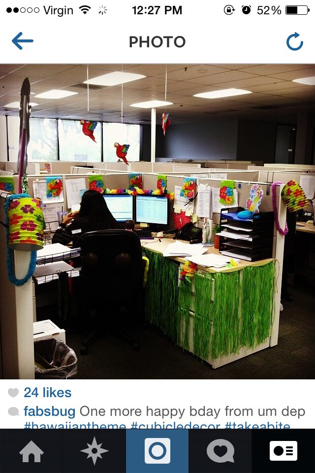 Hawaiian Birthday Decoration At Work For Cubical Office