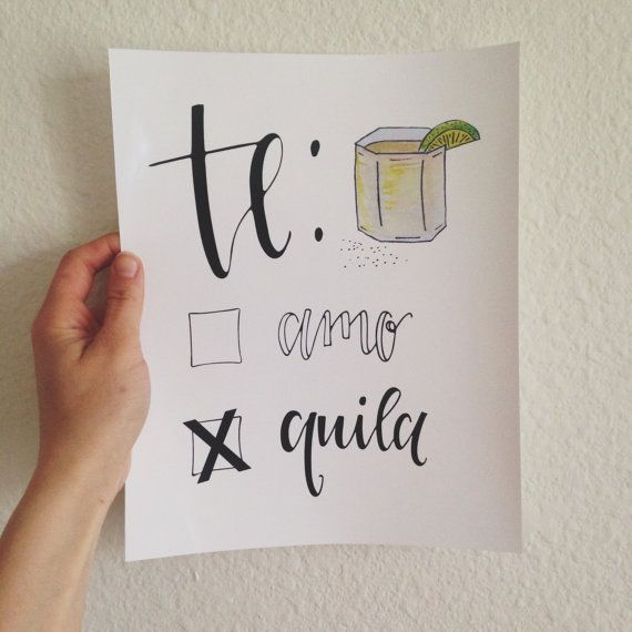 This watercolor, hand lettered print is the perfect addition to hang above your bar cart! Especially for a tequila lover!  This piece was
