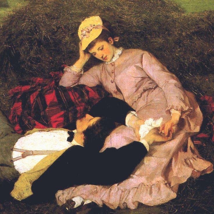 Szinyei Merse Pál: Szerelmespár, részlet, 1870, olaj, vászon, 53,3 x 63. 5 cm