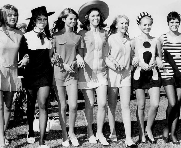 Mini skirts: generally 20cm above the knees.  The dfining fashion symbol of the 60s. Generally credited to fashion designer Mary Quant (UK) but la mini- jupe was invented by French fashion designer André Courrèges... Go figure the French and English can`t agree!!!!!!!!!