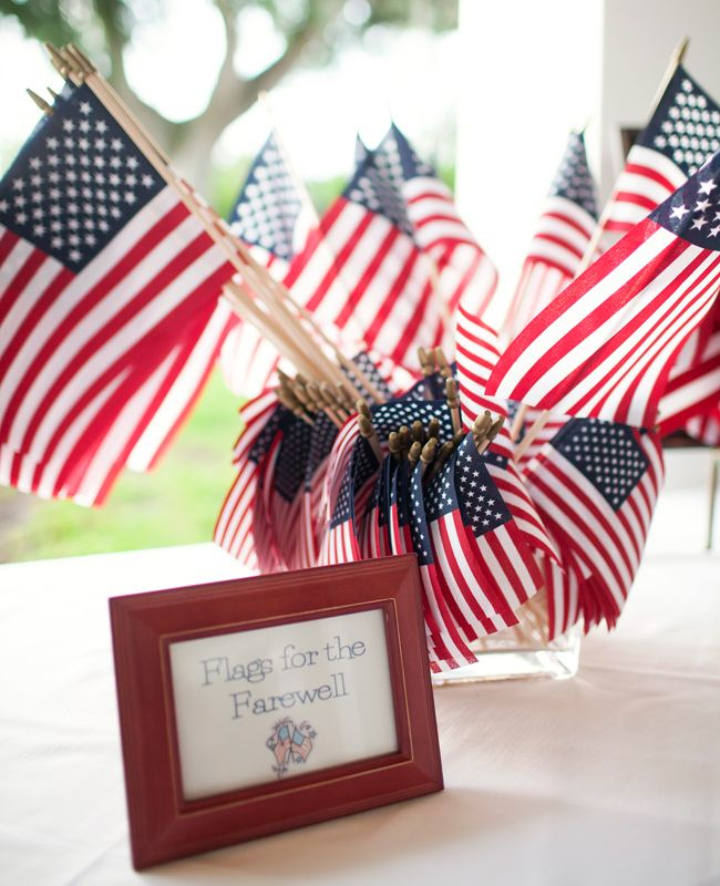 Repurpose These 15 Backyard Barbecue Ideas At Your Wedding:  1. Hand out flags for a patriotic ceremony or reception exit.