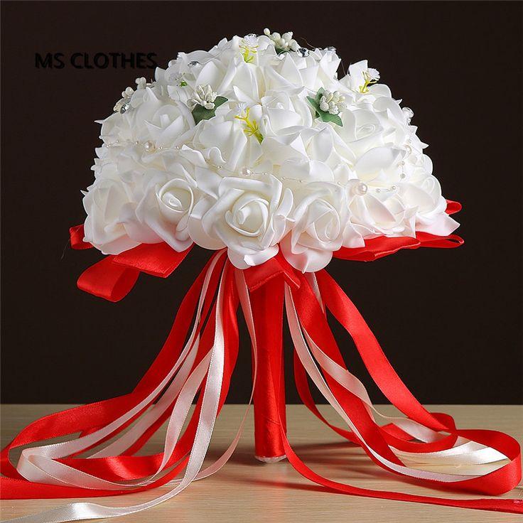 2017 weiß Rot Big Hochzeit Bouqet für Bräute mit Seidenband Kristalle bouquet de noiva künstliche brautstrauß de mariage