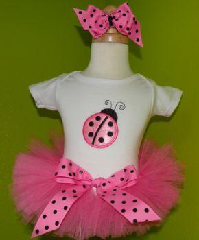 Simply Adorable Pink Ladybug Birthday tutu Outfit