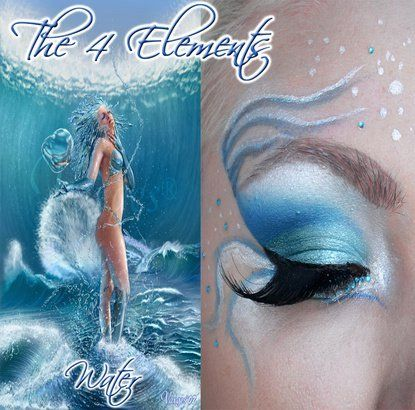 """Intense blue and white """"aquatic"""" eye shadow with small aqua crystal accents inspired by """"Water"""" of """"The 4 Elements""""."""